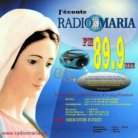 Радио Maria 89.9 FM Демократическая Республика Конго, Киншаса